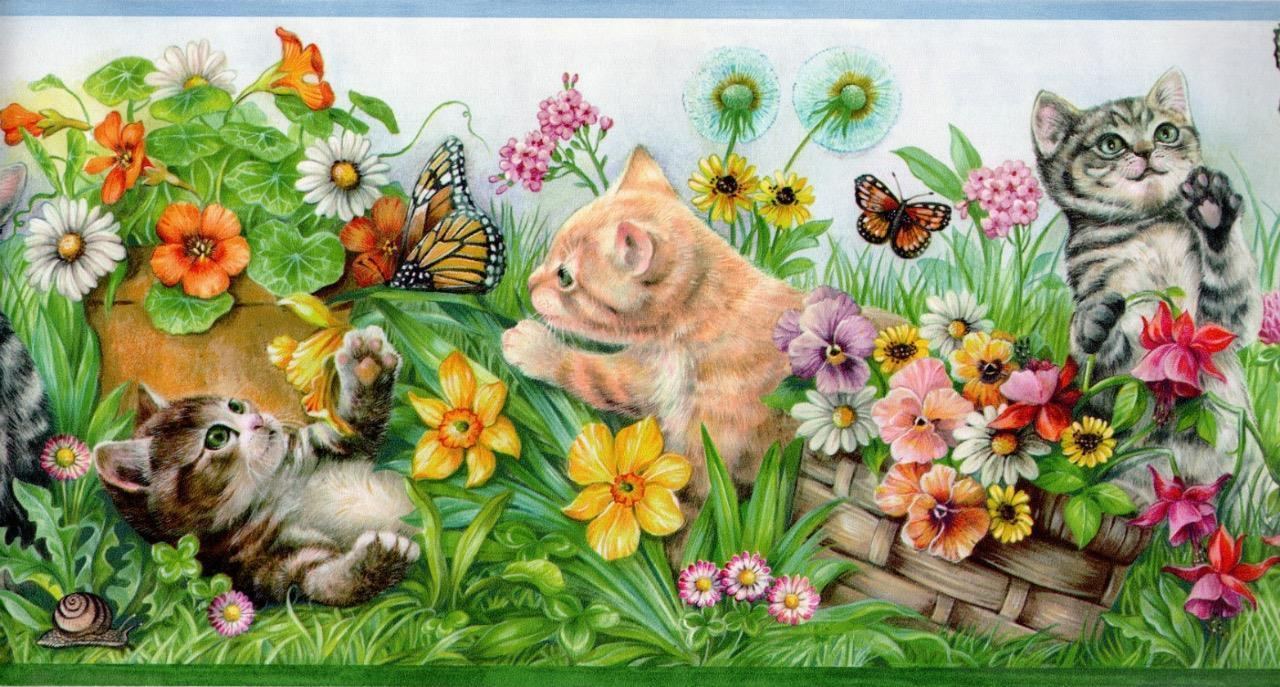 14.39 Kitty Cats Kittens Playmates Flower Garden