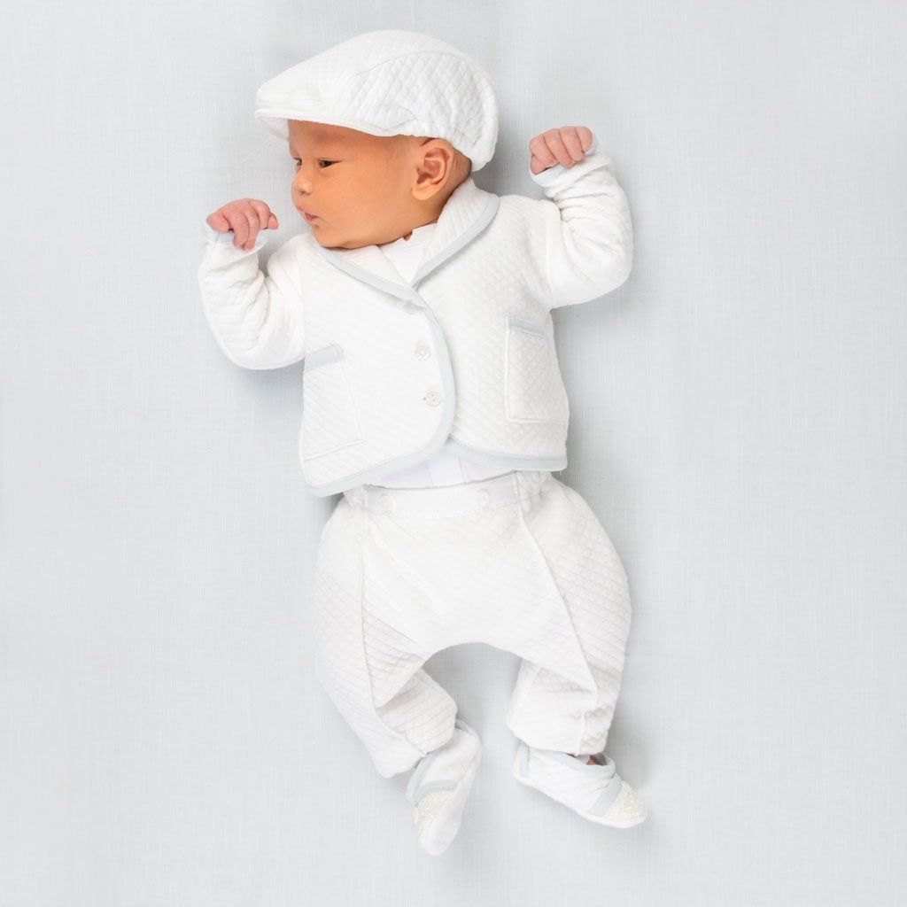 New Baby Boys White Poly Cotton Romper Suit Hat Christening Baptism Outfit Liam