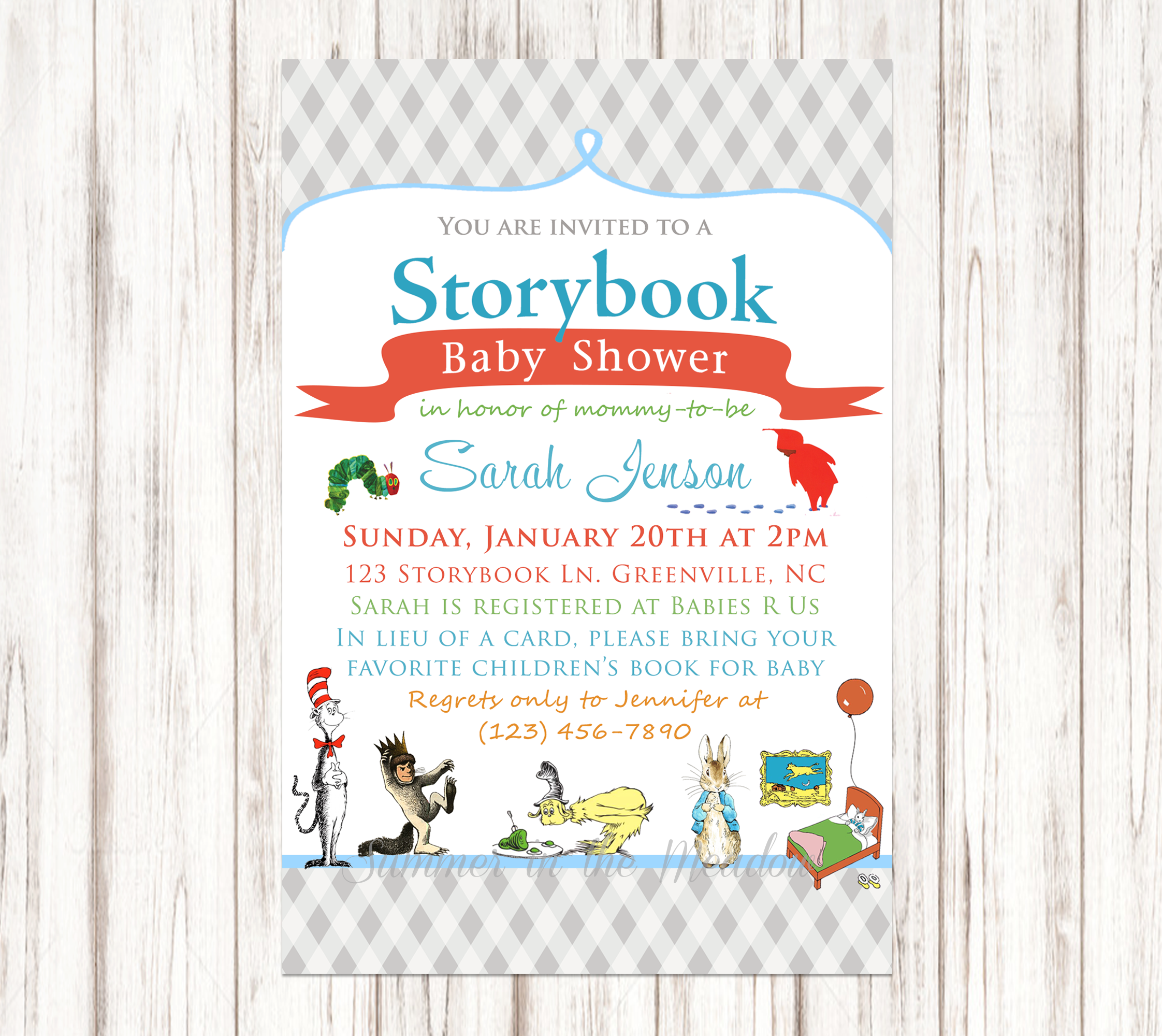 Storybook Baby Shower Invitation, Book Baby Shower Invite, Seuss ...