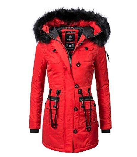 Abrigo capucha pelo rojo