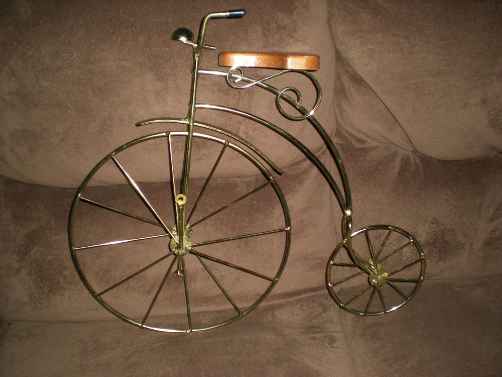 Vintage Penny Farthing Gold Tone Model 3d High Wheel Bicycle Wall