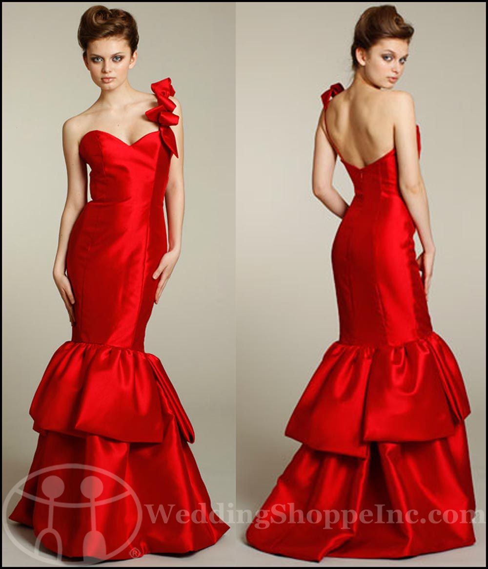 Red wedding party photos my wedding chat blog archive find noir by lazaro bridesmaid dress lazaro va va voom shoulder detail makes it a little over the top ombrellifo Image collections