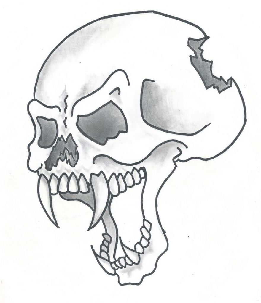 Cool drawing of skulls drawing art library cool for Awesome easy pictures to draw