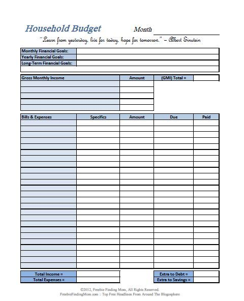 FREE Printable Budget Worksheets u2013 Download or Print Budgeting - home budget spreadsheet