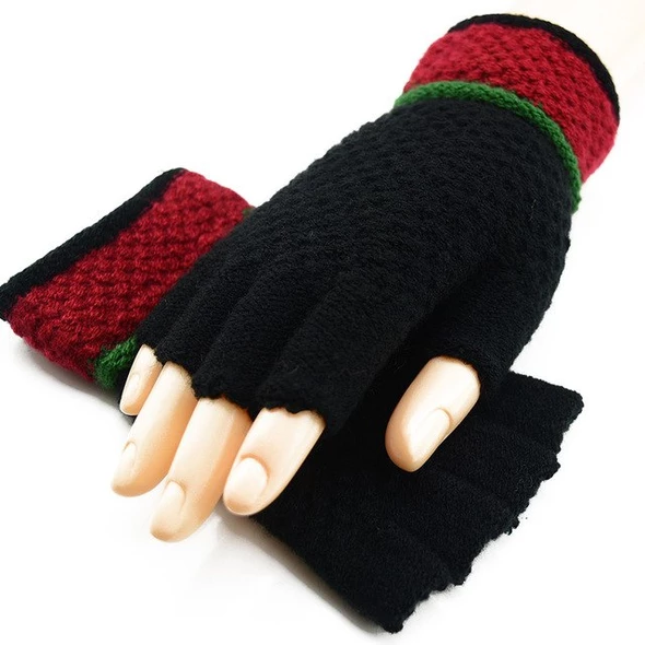 Men Women Winter Warm Gloves Half Finger Fingerless Knitted Wool Mittens 1 Pair