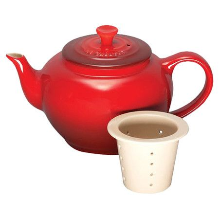 Perfect for a morning cup of chamomile or serving guests after dinner, this classic teapot pairs enamel stoneware craftsmanship with a cherry red finish. The...