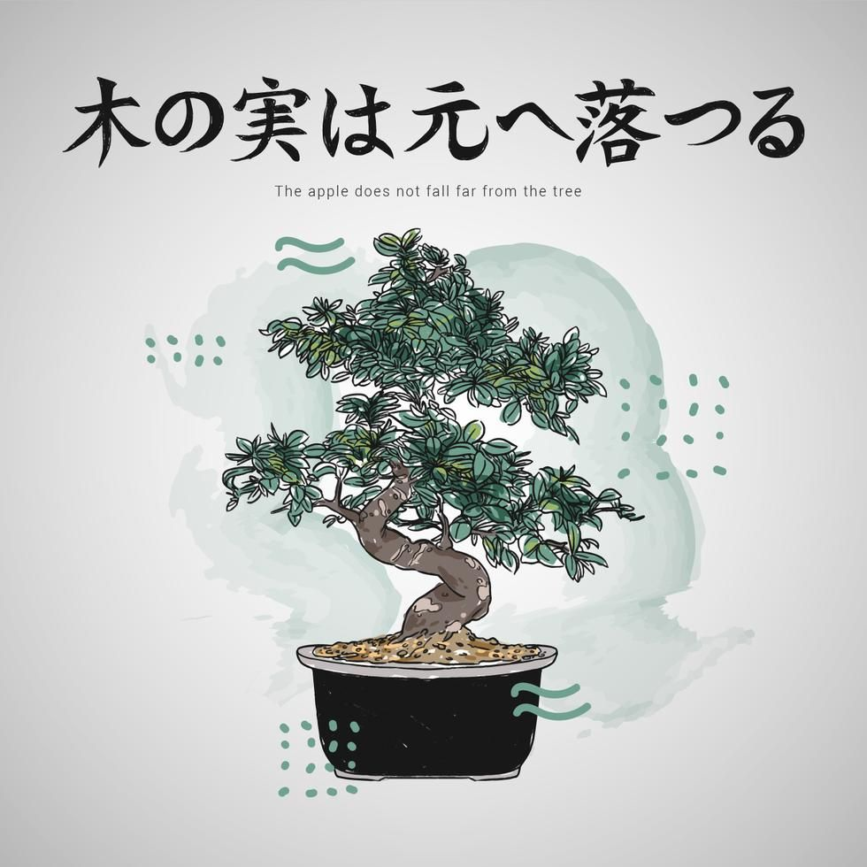 Download Japanese Letters Quotes With Bonsai Tree Vector Illustration  for free
