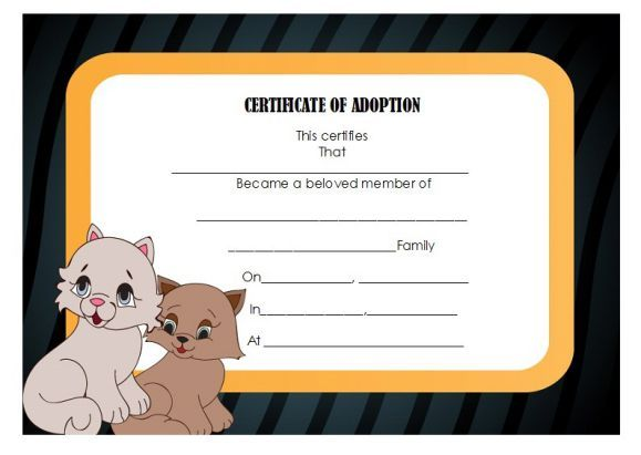 Cat Adoption Certificate Template  Adoption Certificate Template