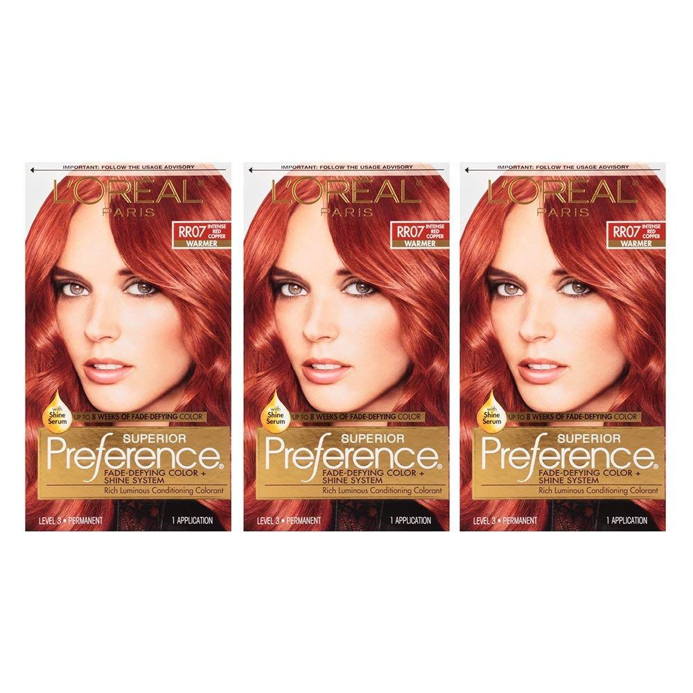 L Oreal Paris Superior Preference Permanent Hair Color Rr 07 Intense Red Copper 3 Count You Can Get Additiona Permanent Hair Color Hair Color Color Shine