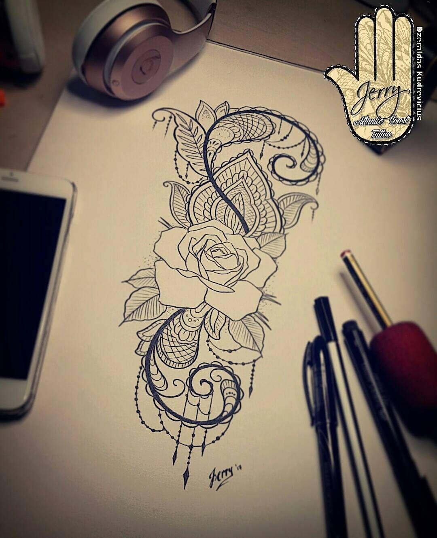 rose tattoo design idea lace mendi pattern jerry dzeraldas pinterest tattoo frauen traum. Black Bedroom Furniture Sets. Home Design Ideas