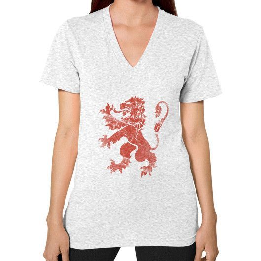 Red Lion Rampant V-Neck (on woman)