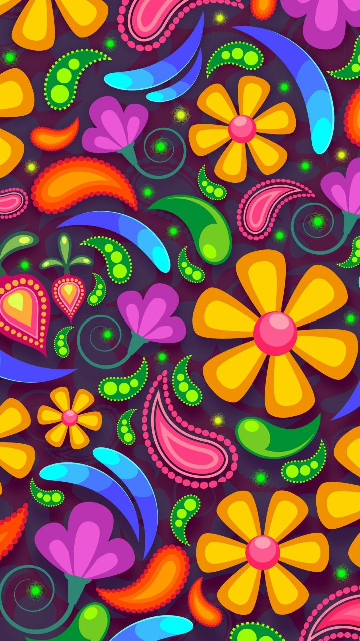 Flowers, colorful, art, abstract, 720x1280 wallpaper ...
