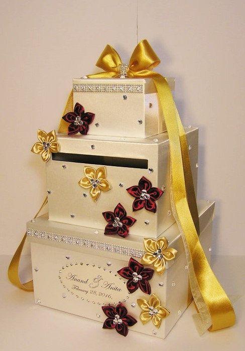 Wedding Card Box Ivory and Coral Gift Card Box Money Box Holder ...