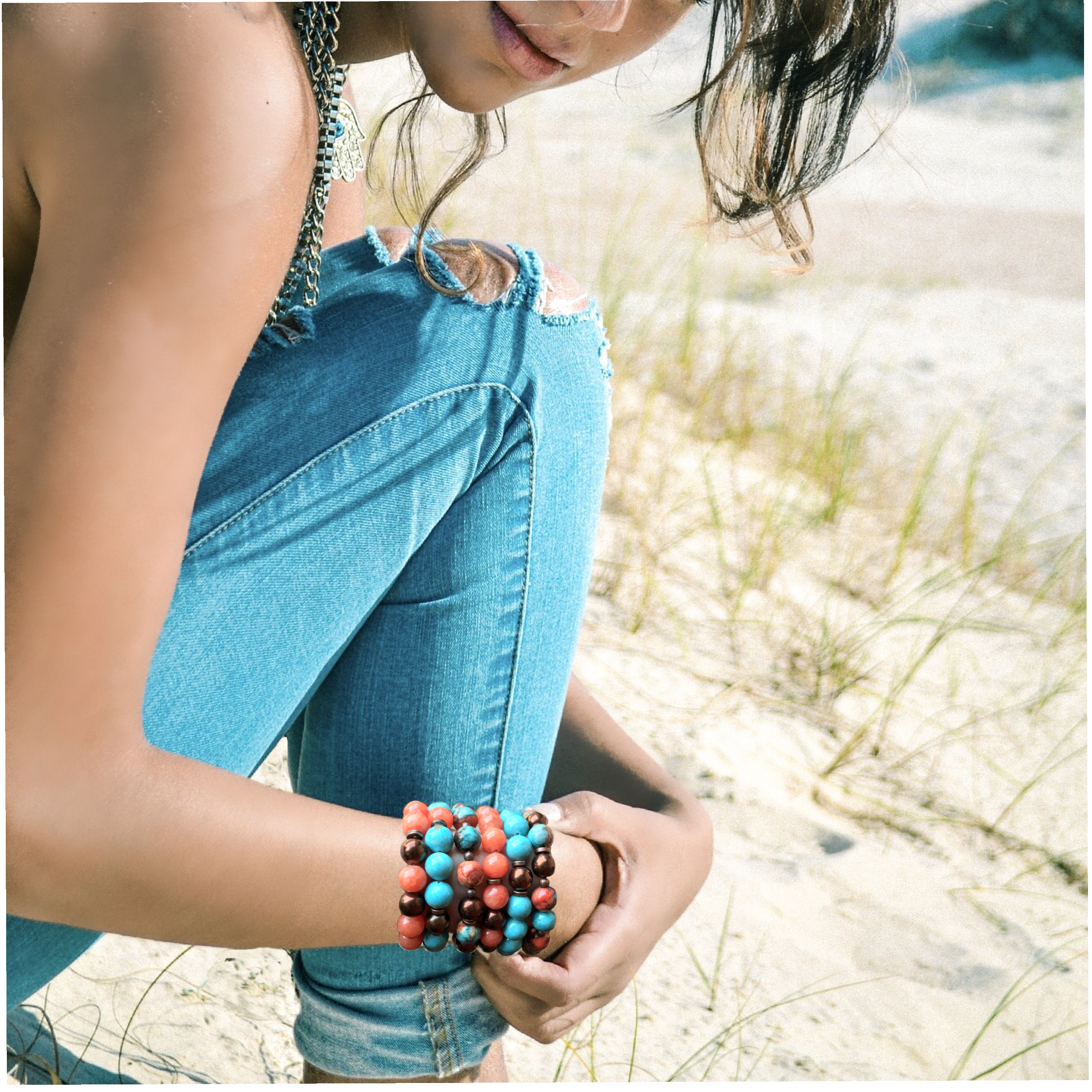 Semi Precious stones in Turquoise, Sun Stone, Copper, Apricot and Bronze. Part of the Denim Collection from Cactus Blues Shop the look by clicking on the photo Boho Style, Southwest Style, Island Ready