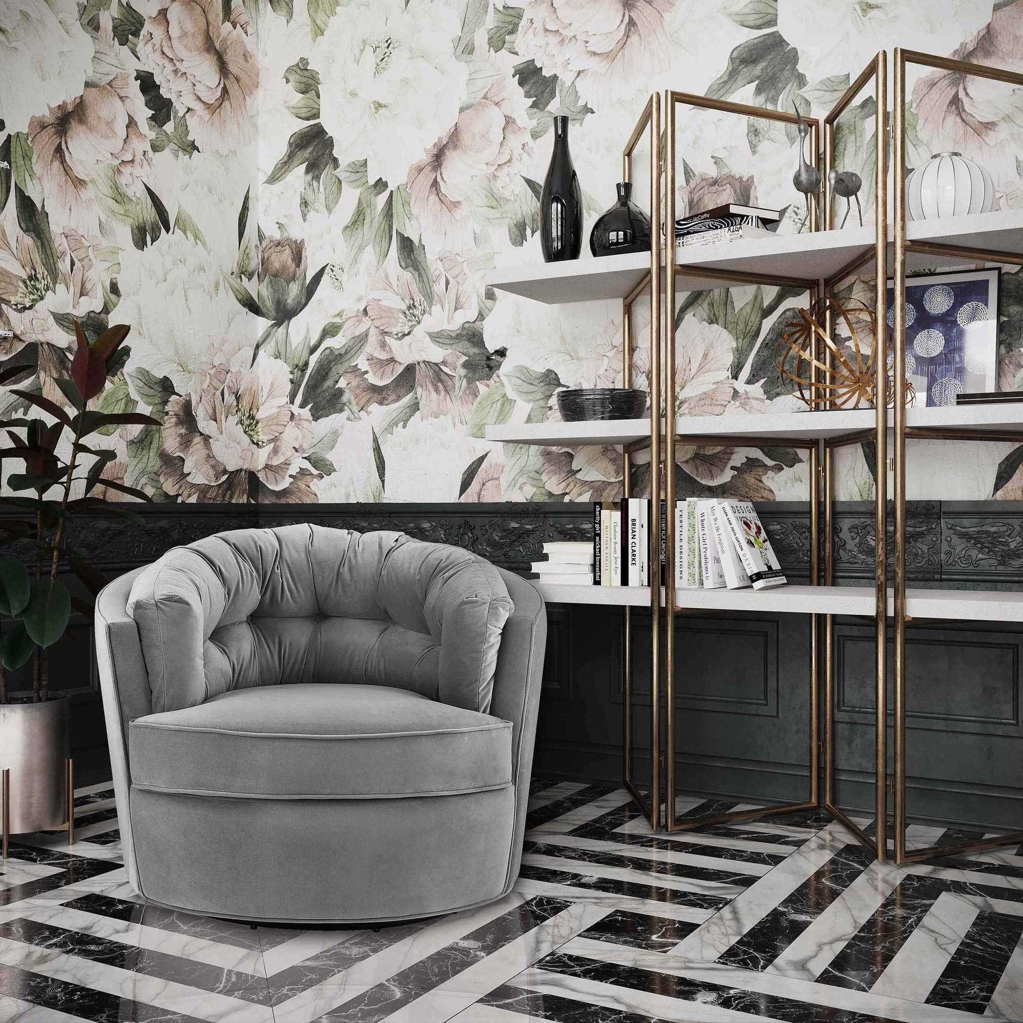 Eloise Swivel Chair, Grey in 2020 Upholstered swivel