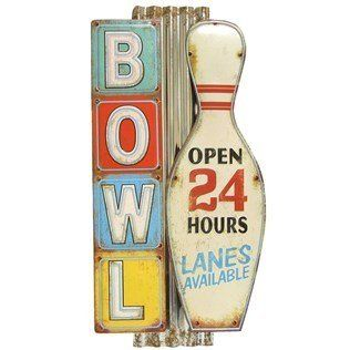 Large Bowl Open 24 Hours Lanes Available Metal Tin Sign On Corrugated Metal Vintage Style Bowling Alley Http Www A Tin Signs Metal Shop Corrugated Metal