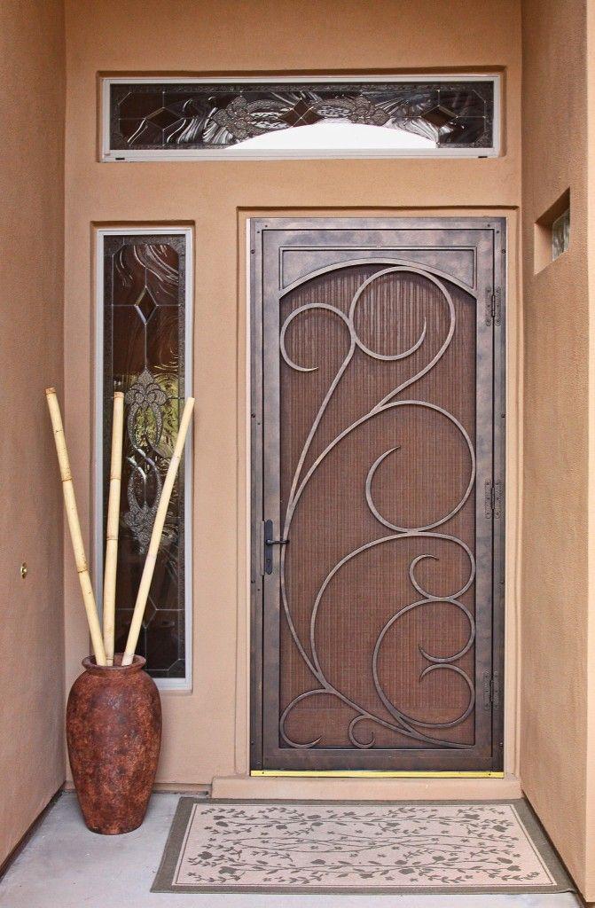 Home ~ Enchanting Decorative Security Screen Doors: Sensational El Dorado  Security Screen Unique Design Doors And Brown Clay Large Pot Also White  Floral ...