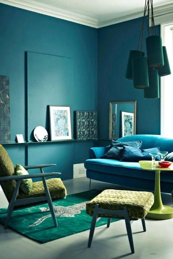 Layered Blue Teal And Lime Green Living Room With Midcentury Modern Furnishings