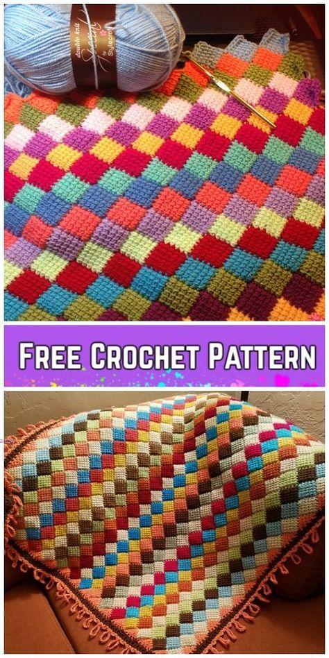 Tunisian Crochet Entrelac Diamond Blanket Free Crochet Pattern ...