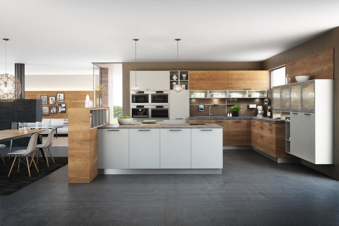 fm kueche modell hammerleiten weiß honigeiche weiße Küchen - küche weiß matt grifflos