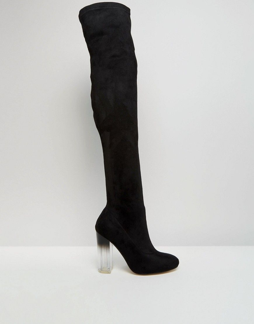 301cdd7ba7cb Image 2 of Truffle Collection Over The Knee Boot with Clear Heel ...