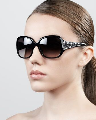 ee6e4264fd Minuit Crystal-Encrusted Oversized Wrap Sunglasses