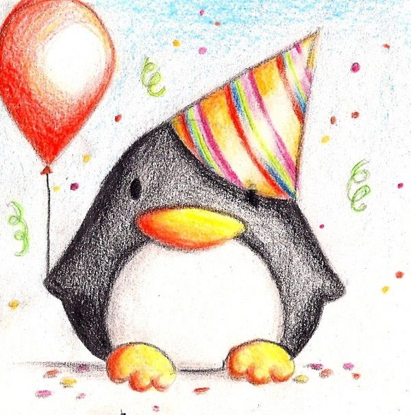 Birthday Penguin By B Keks On Deviantart With Images Happy Birthday Drawings Card Drawing Easy Drawings
