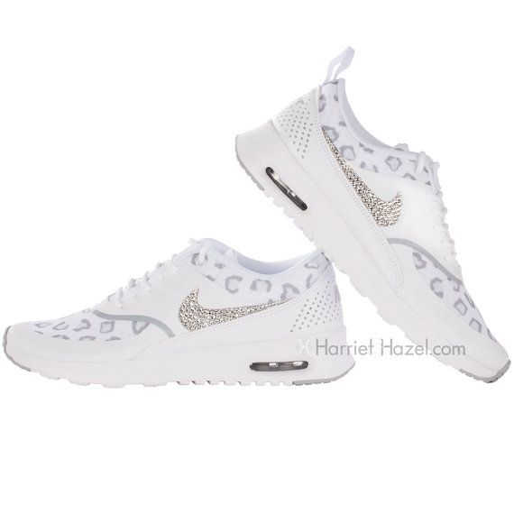 separation shoes b8f81 f3f0a Love these Nike AIr Max Thea in White cheetah with Swarovski crystal details .