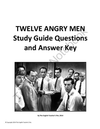 twelve angry men act discussion questions and answer key from the  twelve angry men act discussion questions and answer key from the english teacher s pet on teachersnotebook