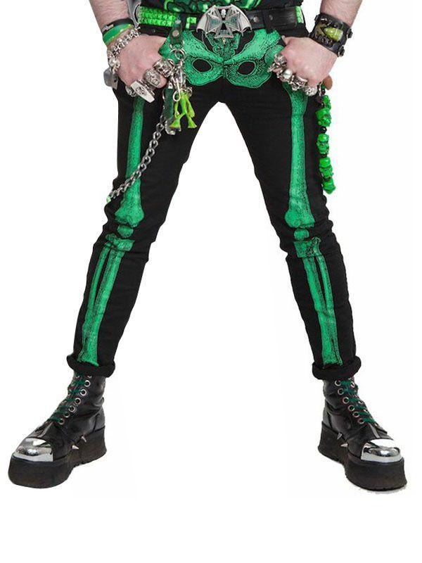 7004d84d249b01 Kreepsville Gothic Jeans Hose Skelett schwarz-grün kreepsville #gothic