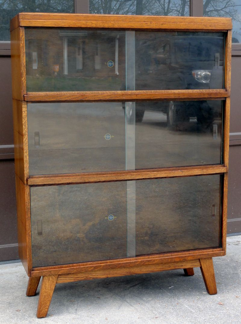 Rare Mid Century Modern Globe Wernicke Stacking Barrister Lawyers Bookcase Oak