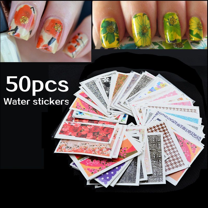 Cheap Price GuaranteeMix 50pcs/pack Nail Art Water Transfer Flower ...