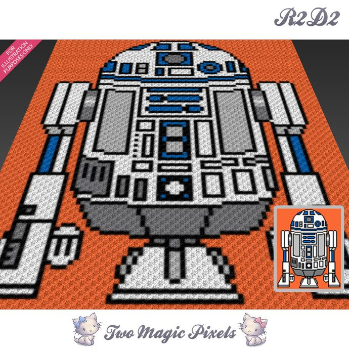 R2D2 crochet blanket pattern; c2c, cross stitch; graph; pdf download ...