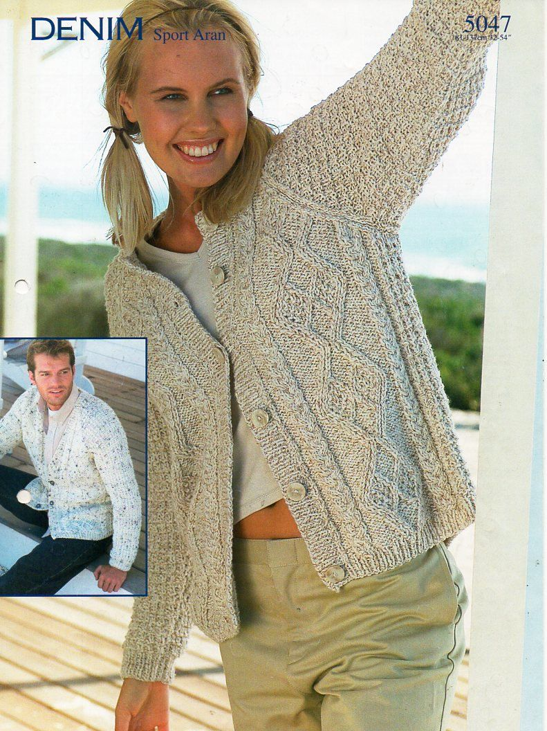 Womens Mens Aran Cardigans Knitting Pattern Pdf Ladies Cable