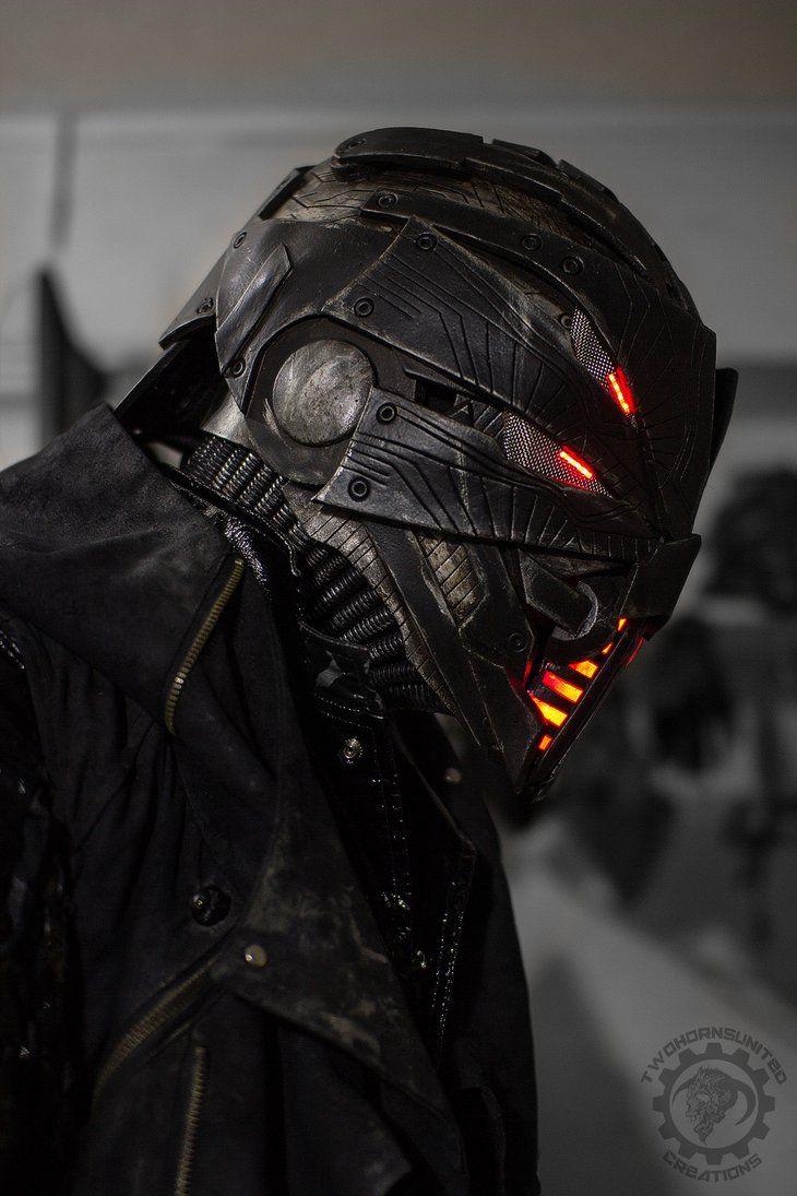 Erebus cyberpunk dystopian light up helmet by