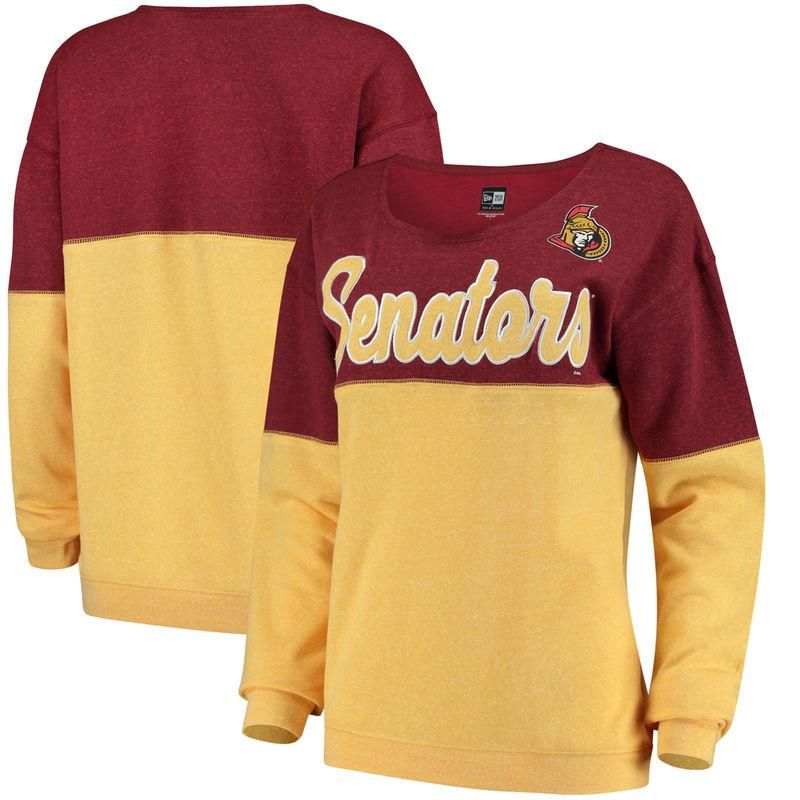 26fe90595 Ottawa Senators   Ocean by New Era Women s Tri-Blend Fleece Scoop Neck  Pullover Sweatshirt – Red Gold