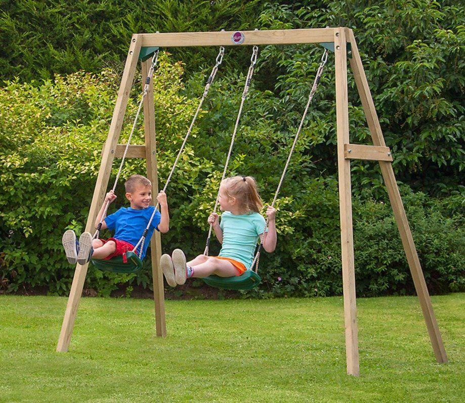 Wooden Double Swing Set In 2019 Children S Play Wooden Swings