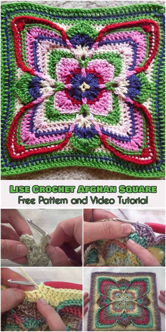 Lise Crochet Afghan Square [Free Pattern and Video Tutorial ...