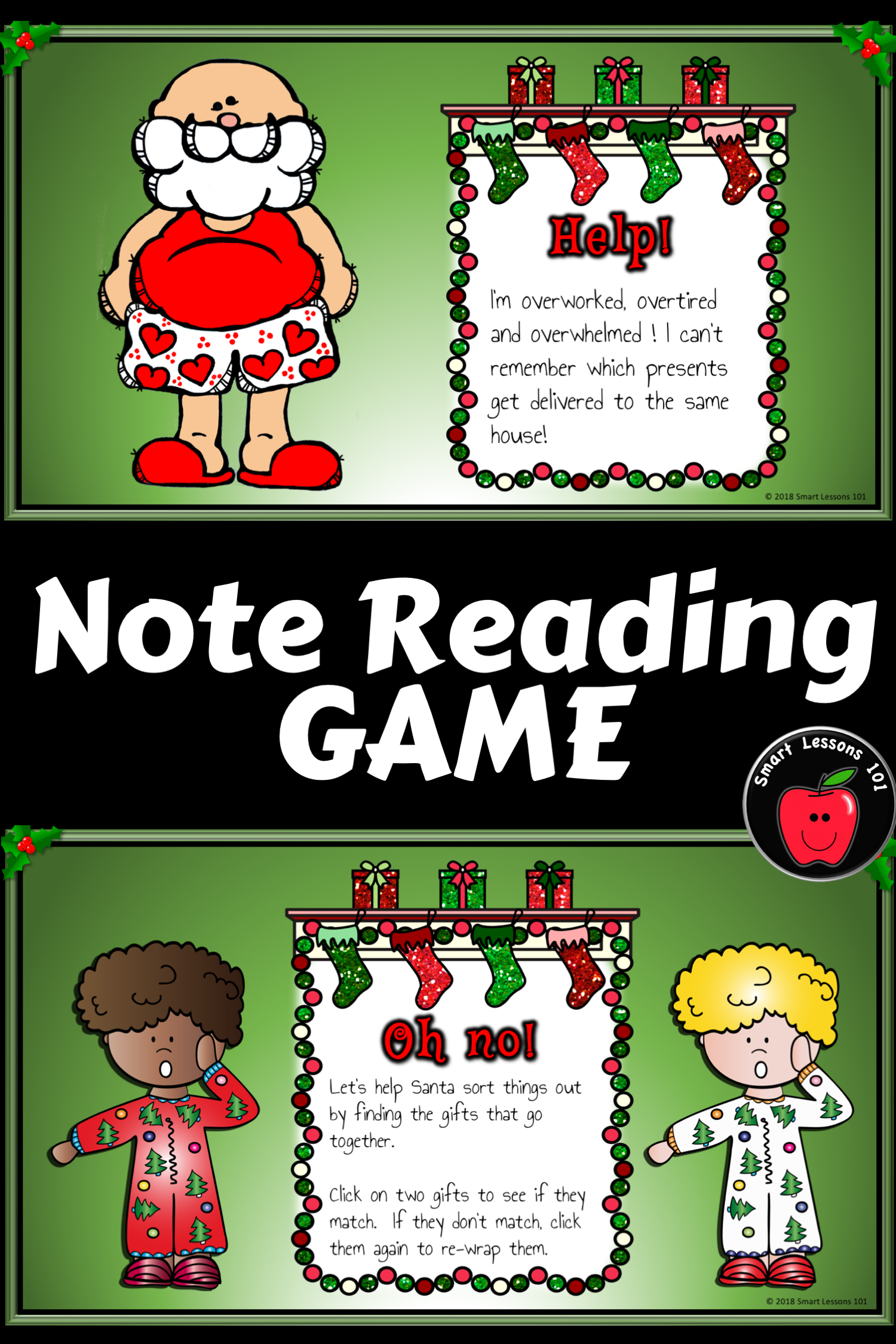 Christmas Music Game Forgetful Santa Note Reading Game