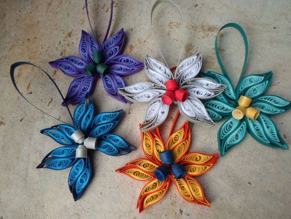 Decorazioni Natale Quilling.Quilled Christmas Tree Ornaments Set Of 5 Paper Decorations For