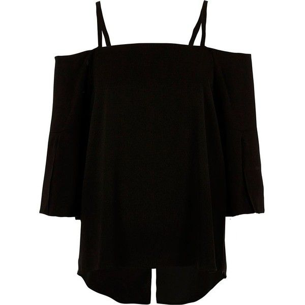 River Island Black bardot three quarter sleeve top (€48) ❤ liked on Polyvore featuring tops, bardot / cold shoulder tops, black, women, tall tops, cold shoulder tops, three quarter sleeve tops, cami top and river island tops