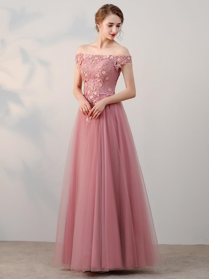 486400156371 Chic A-line Off-the-shoulder Pink Applique Tulle Modest Long Prom ...