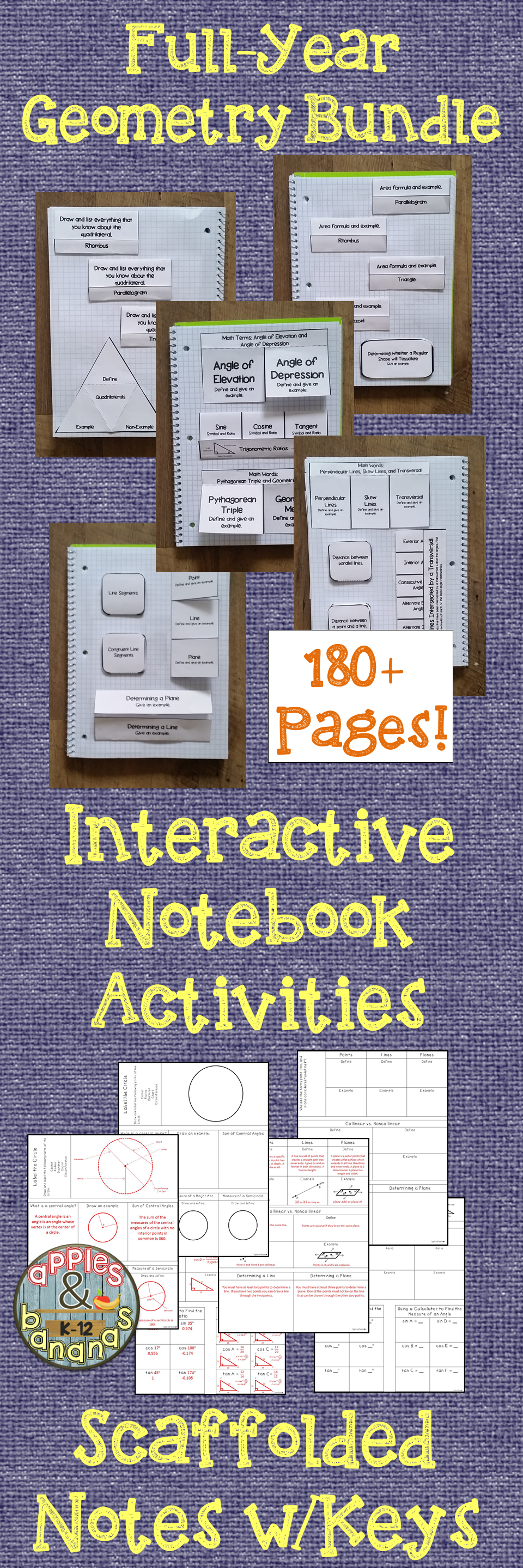 Geometry interactive notebook activities and scaffolded notes bundle full year geometry bundle containing 180 pages of interactive notebook activities and scaffolded notes fandeluxe Image collections