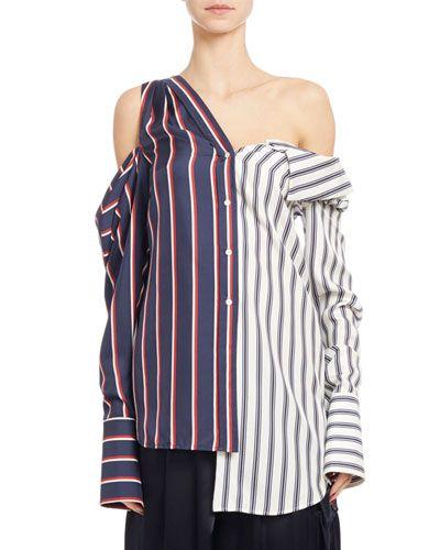 67684f77ca044 B3PJZ Monse Long-Sleeve Striped Silk Two-Tone Blouse