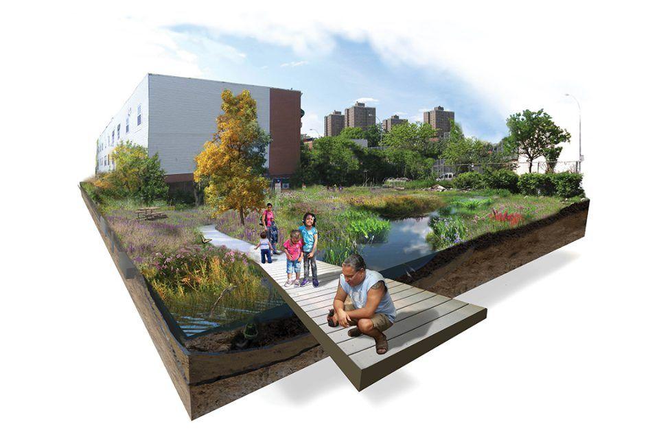 Brook Park Perspective Section S 72ppi Landscape Design Drawings Brook Park Wetland