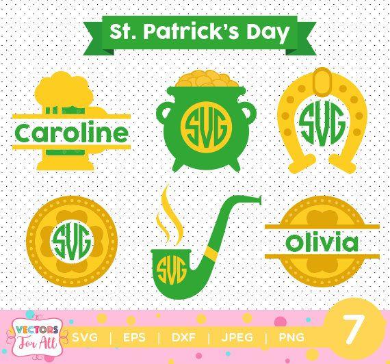 St. Patricks Day #2 monogram SVG, Saint Patricks Silhouette Studio, St. Patricks Day SVG Files by VectorsForAll on Etsy