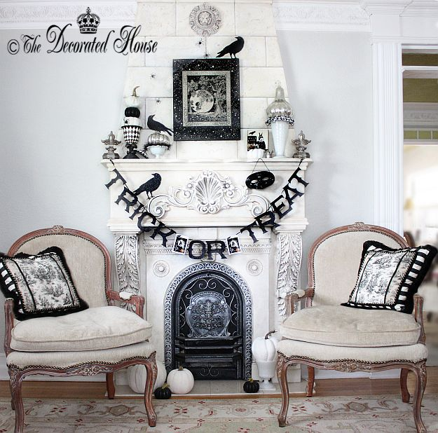 Halloween Mantel 2014 -The Decorated House - Elegant Black and White - decorate house for halloween