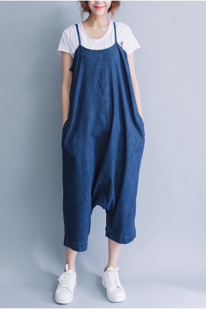 4d51cf4eb476 Summer Blue Casual Loose Overalls Trousers Cowboy Pants Women Clothes P0810