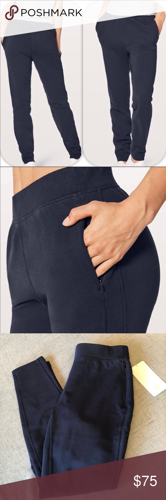 bf0c1d109 Lululemon Jogger Sweatpants Free to Roam New Lululemon Free to Roam Joggers  new with tags size 8. Midnight blue. Has 2 zippered Pockets. No flaws.
