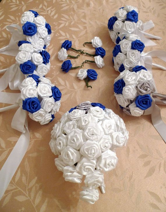 Handmade Satin Ribbon Rose Bouquet CASCADE 7 W X by TheCakebee ...